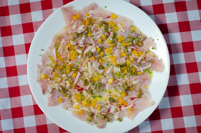סביצ'ה דג ים עם צנונית, צלפים, פלפל ועירית